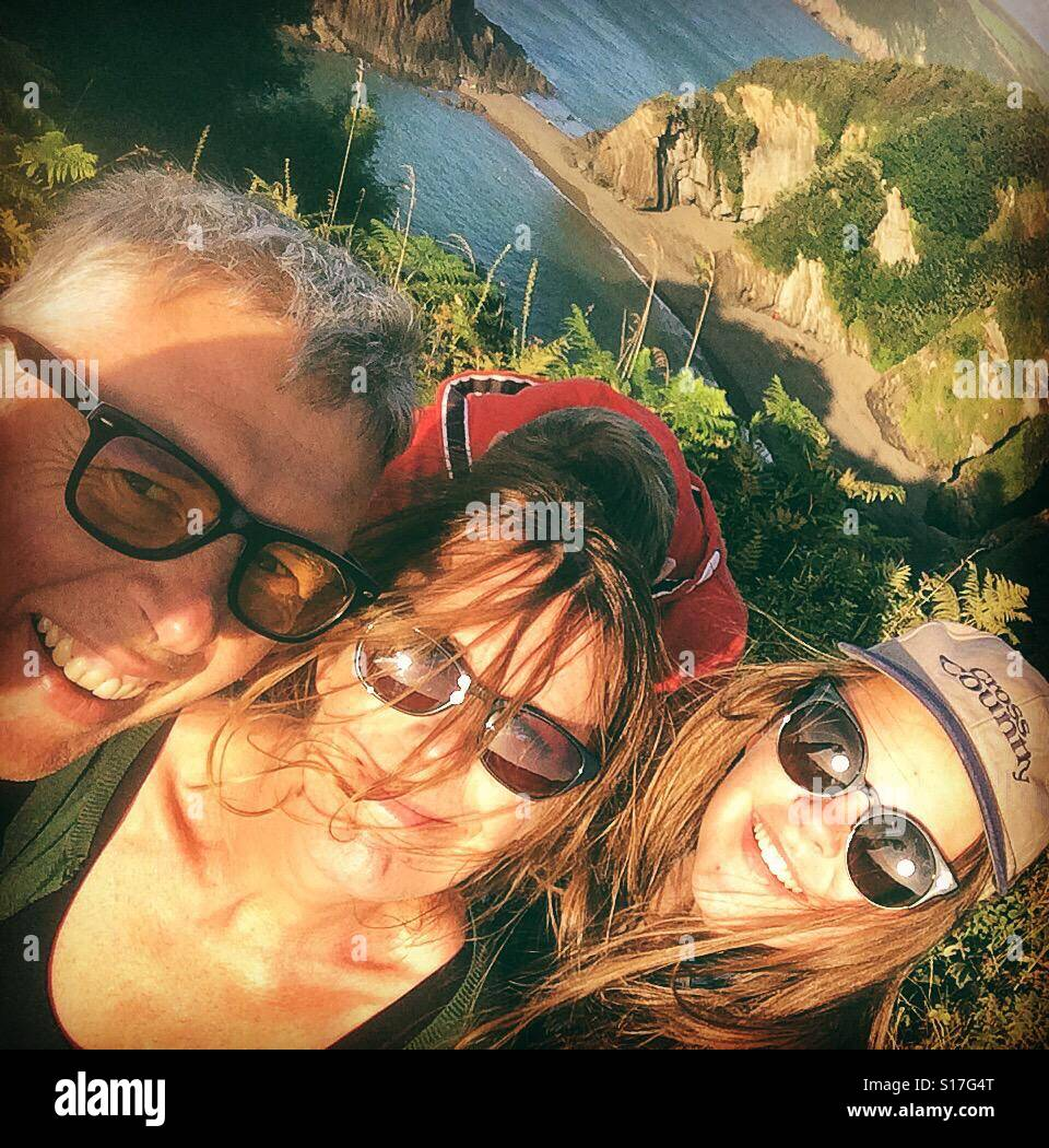 Family on holiday selfie - Stock Image
