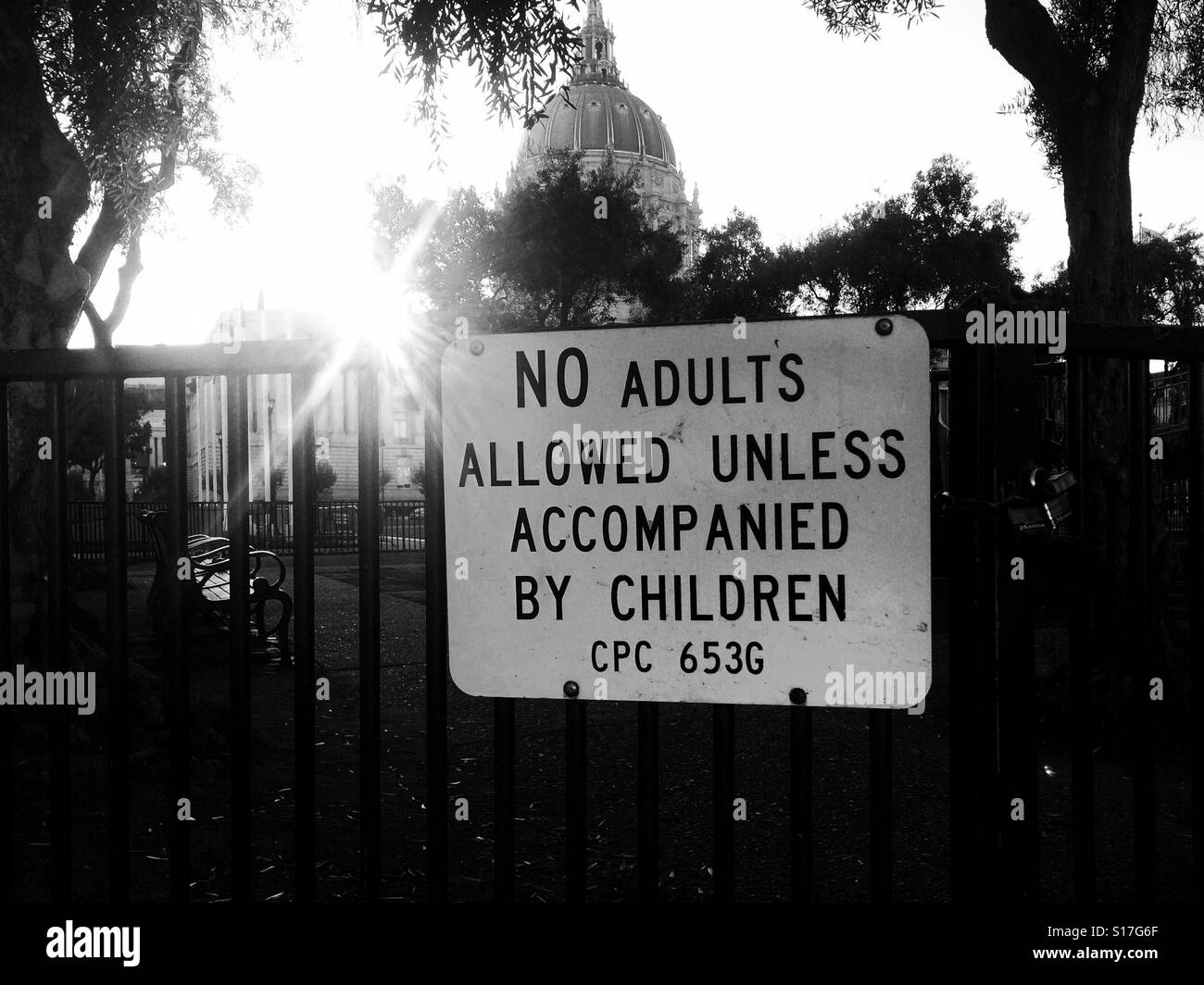 No adults allowed unless accompanied by children - Stock Image