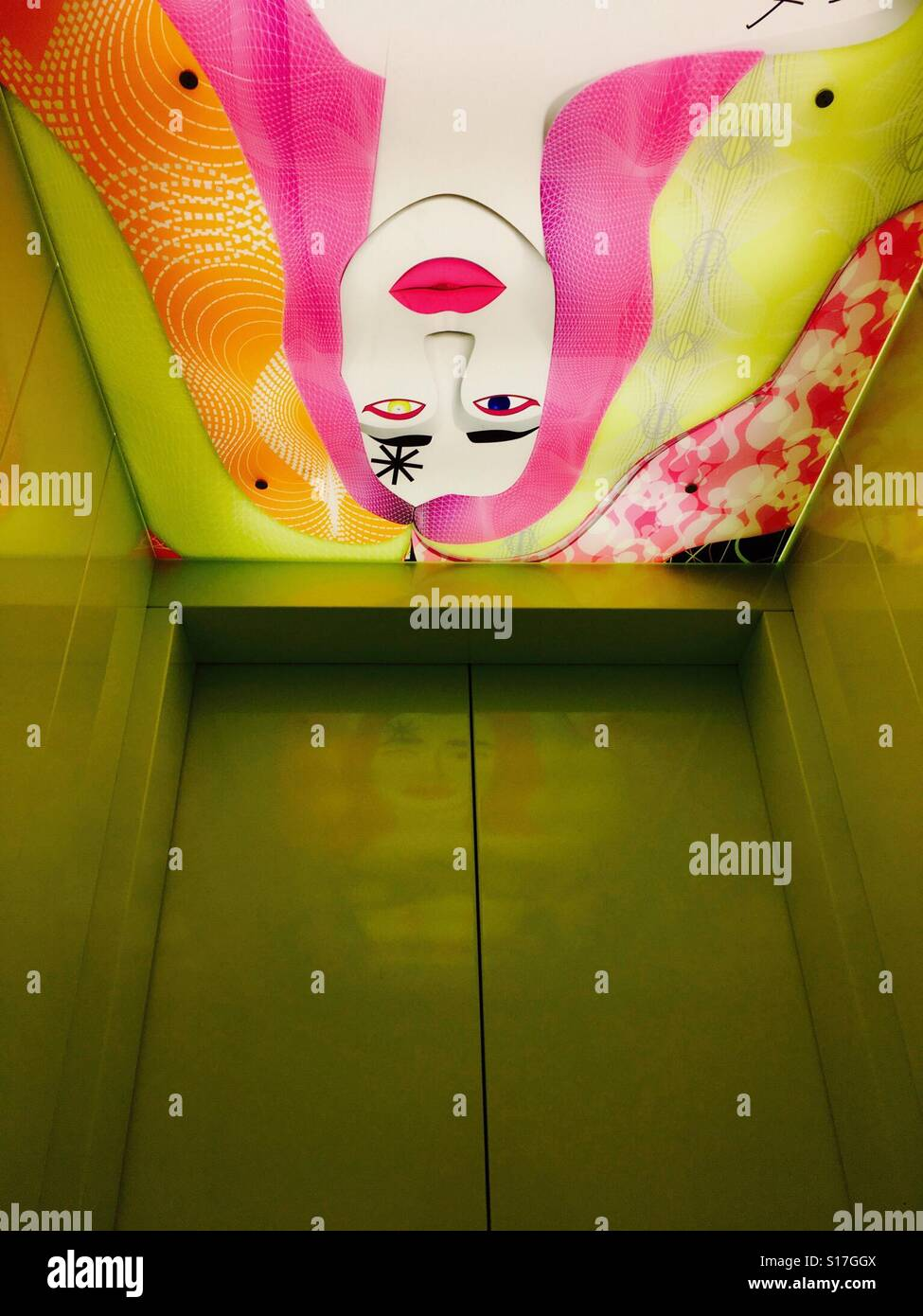 An artsy elevator at the hip nHow Hotel in Berlin, Germany - Stock Image