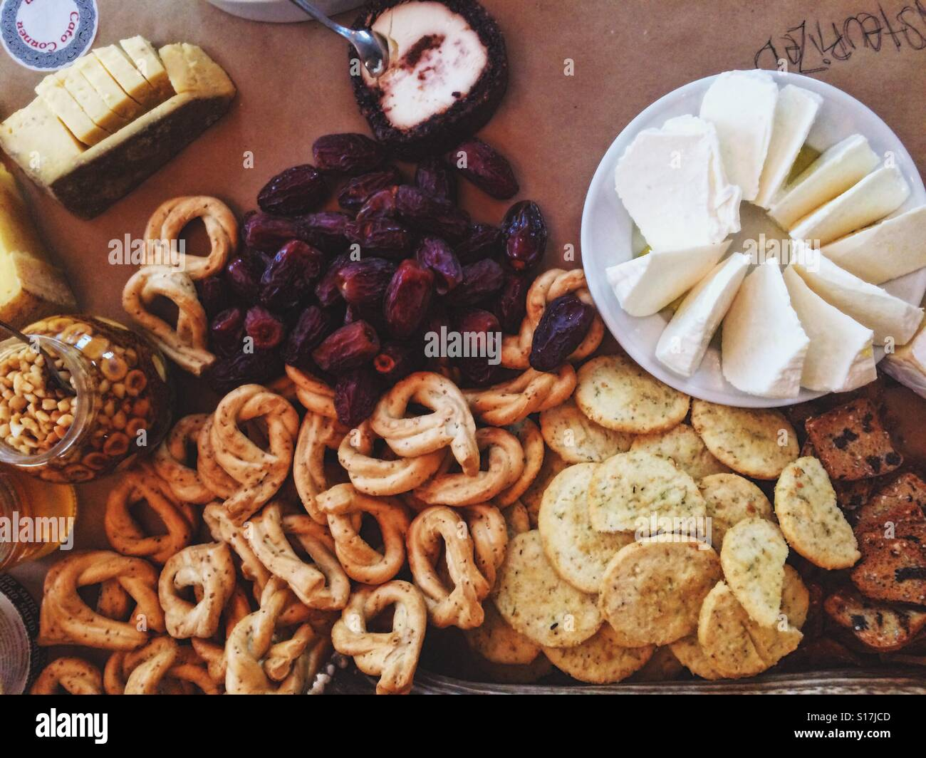 Mediterranean Christmas party spread - Stock Image