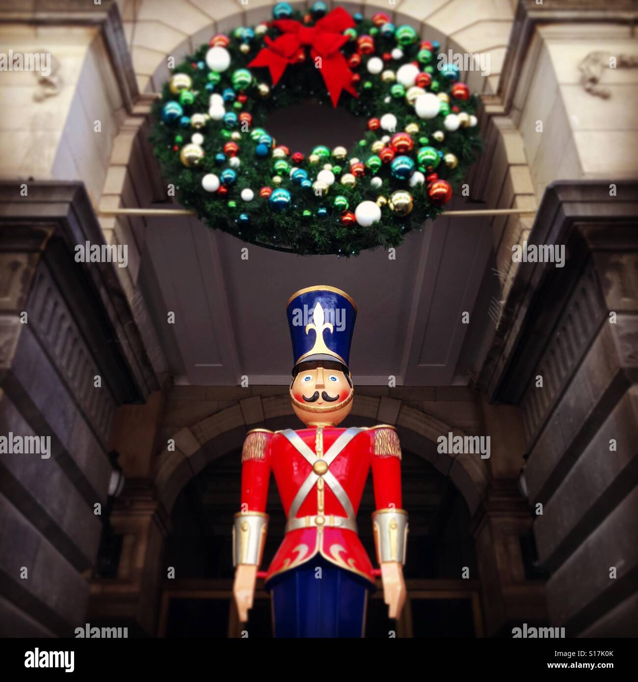 christmas soldier and wreath decorations on melbourne town hall stock image - Christmas Soldier Decorations