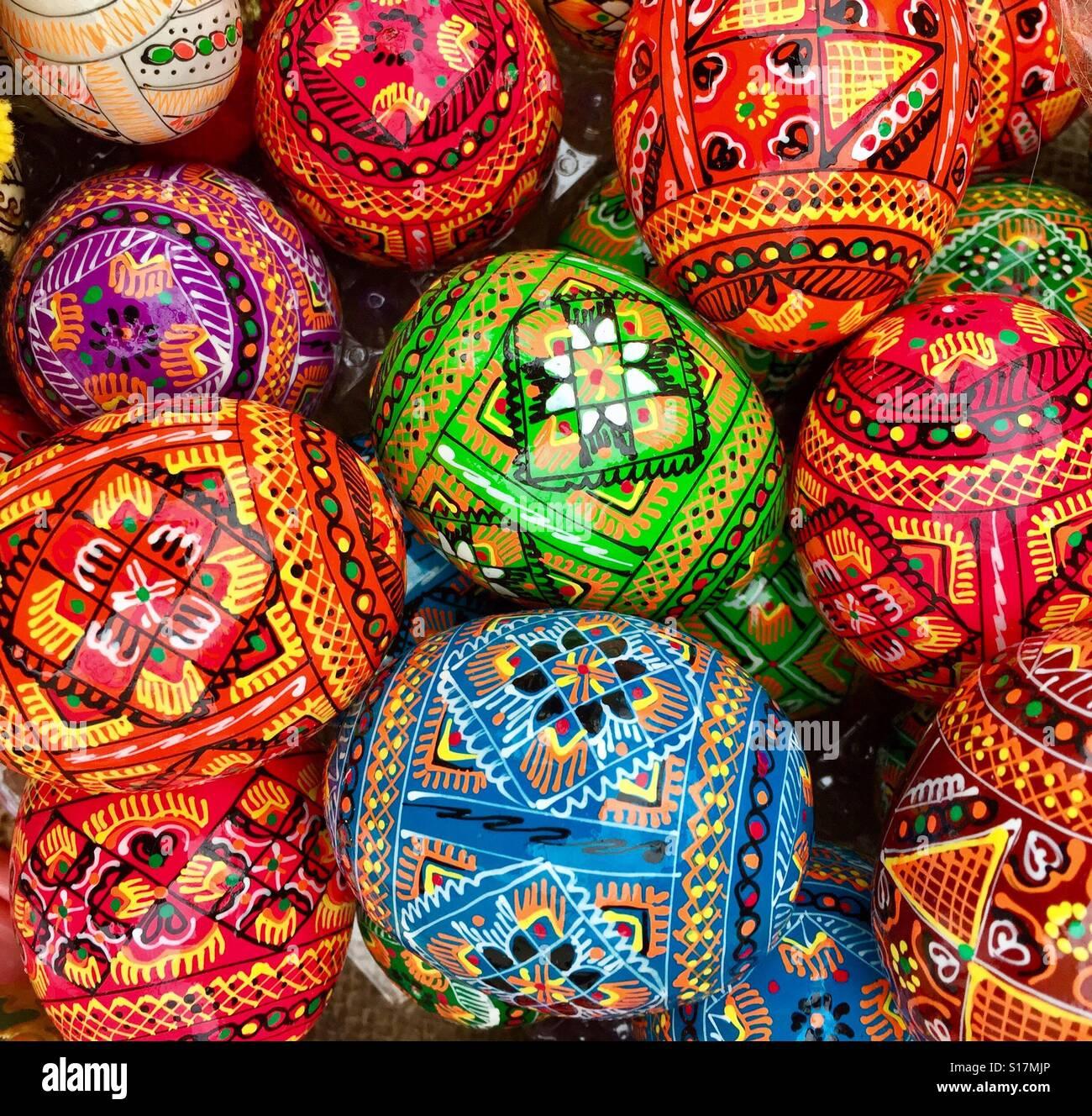 Hand printed Easter eggs, Berlin Stock Photo