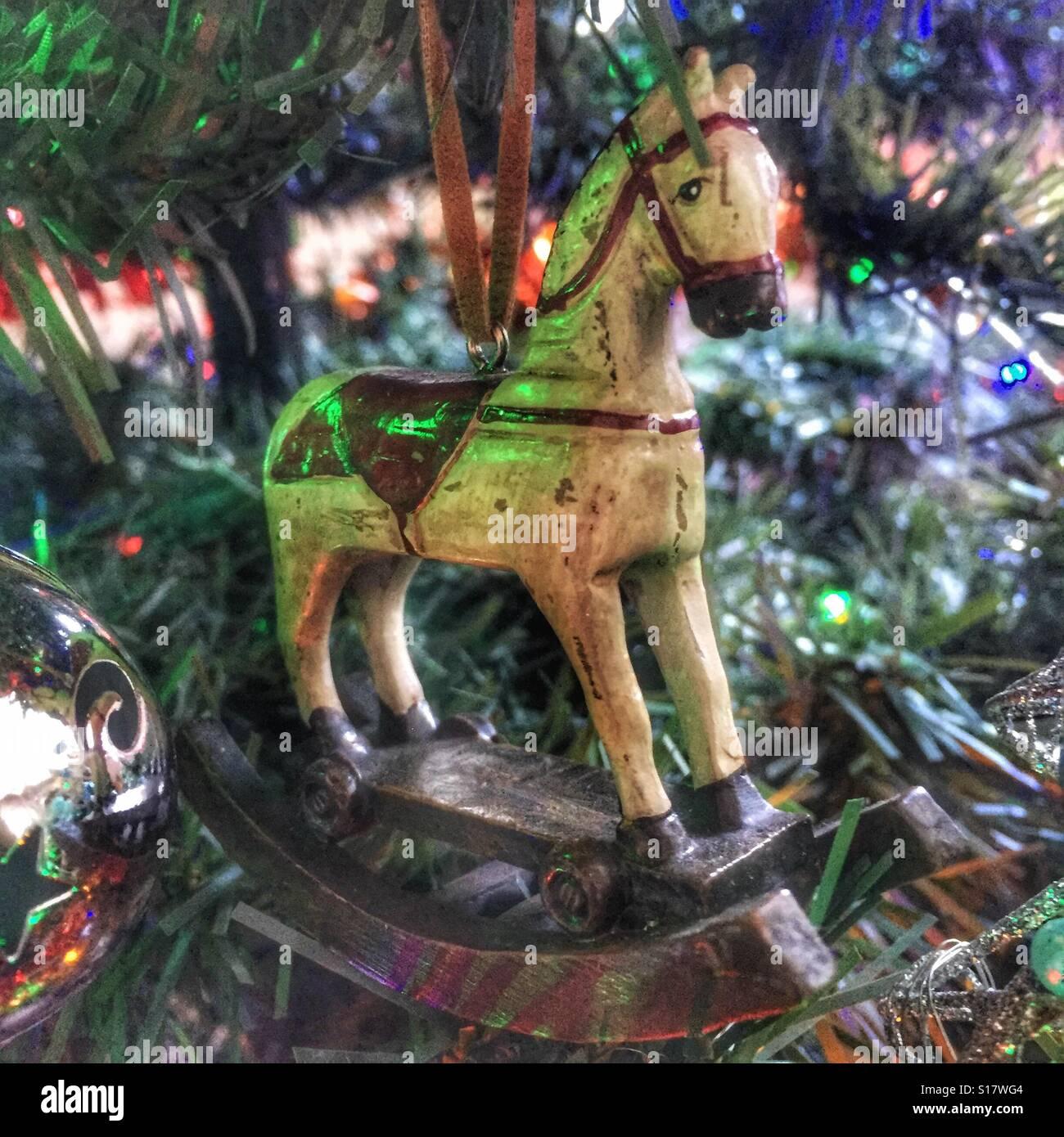 rocking horse christmas tree decoration stock image - Horse Christmas