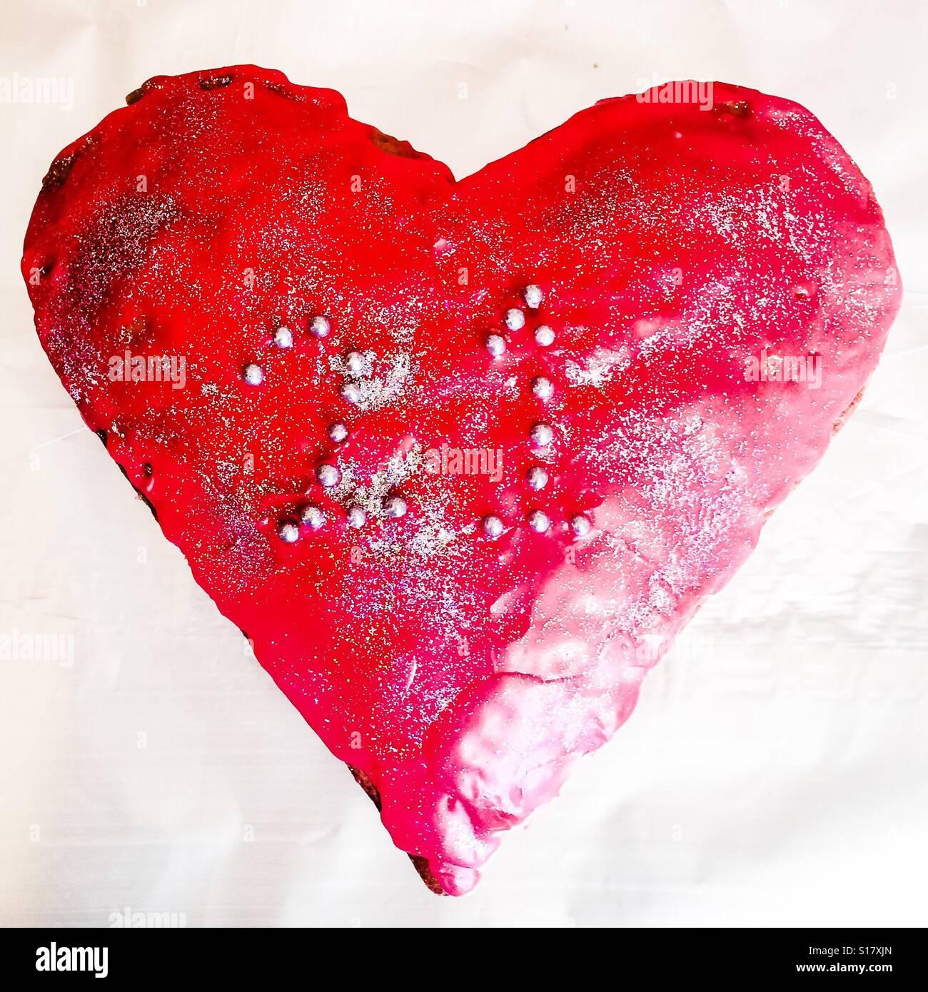 21st Heart Shaped Birthday Cake Stock Photo 310575853 Alamy