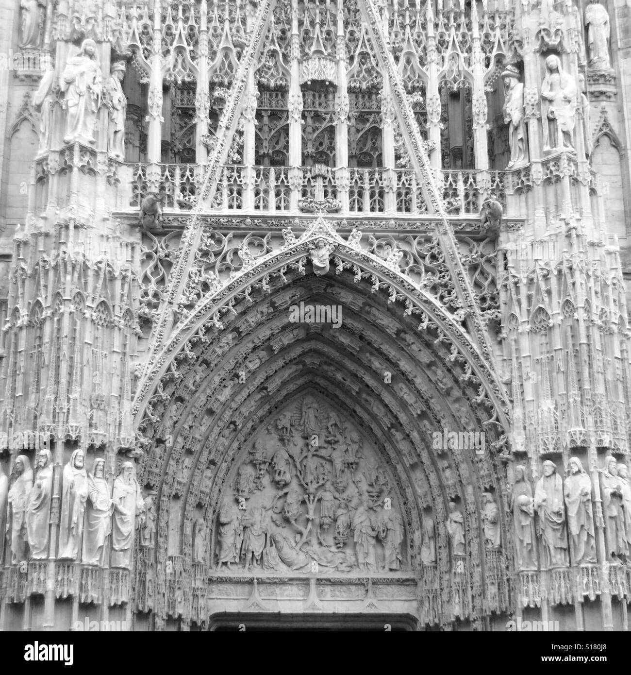 Gothic Facade Of Rouen Cathedral France Black And White
