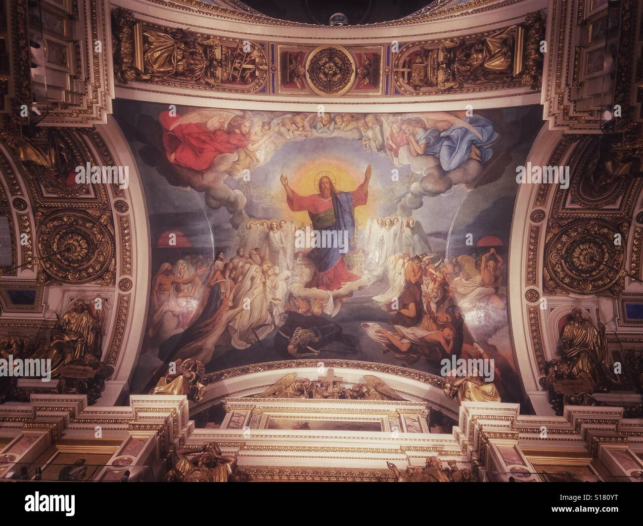 Painted ceiling of Saint Isaac Basilica in Saint Petersburg, Russia - Stock Image
