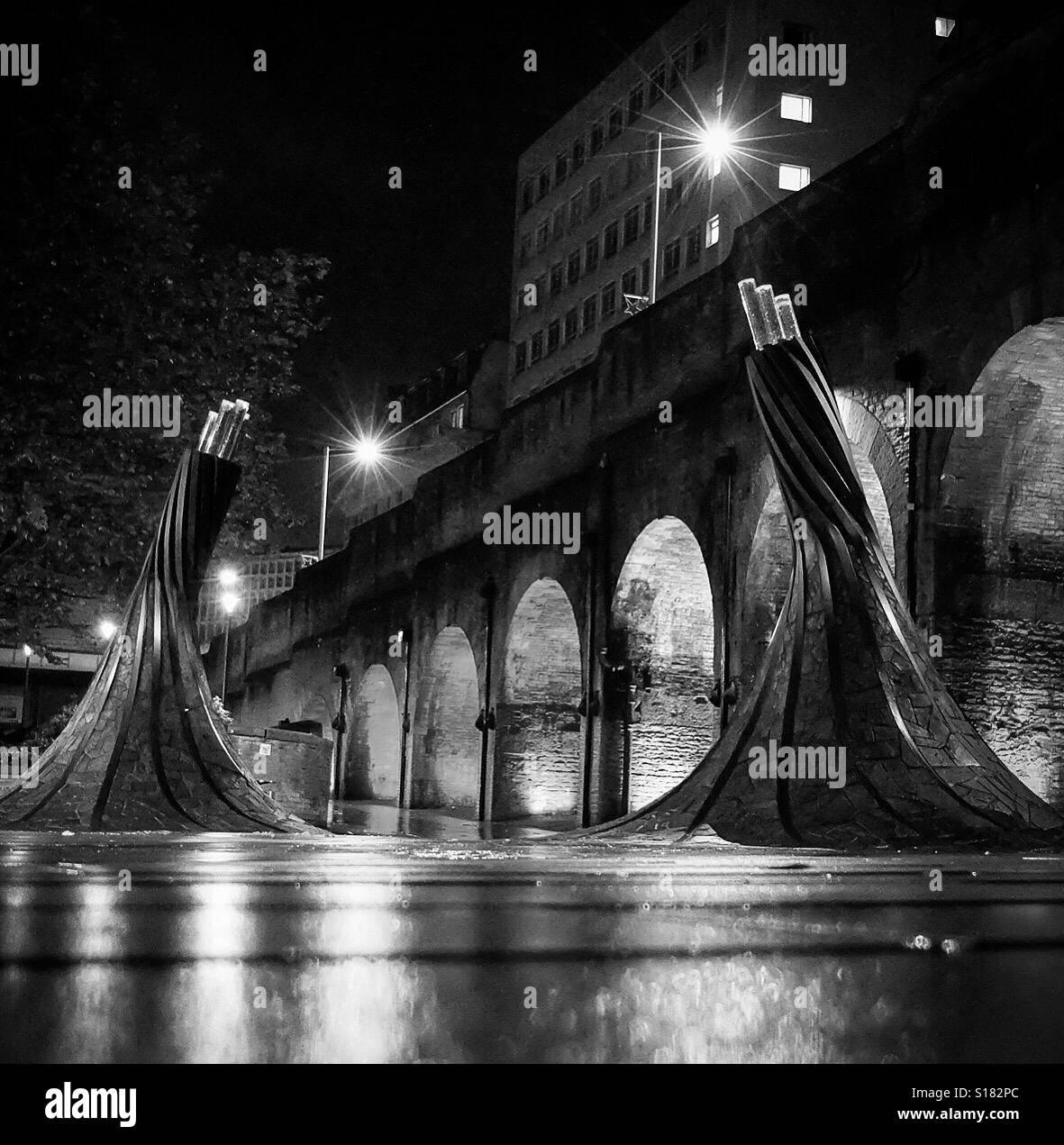 Fibres art installation at Bradford Forster Square. - Stock Image