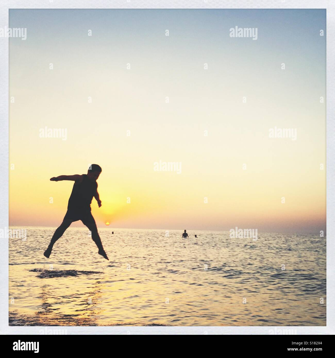 A guy jumping - Stock Image