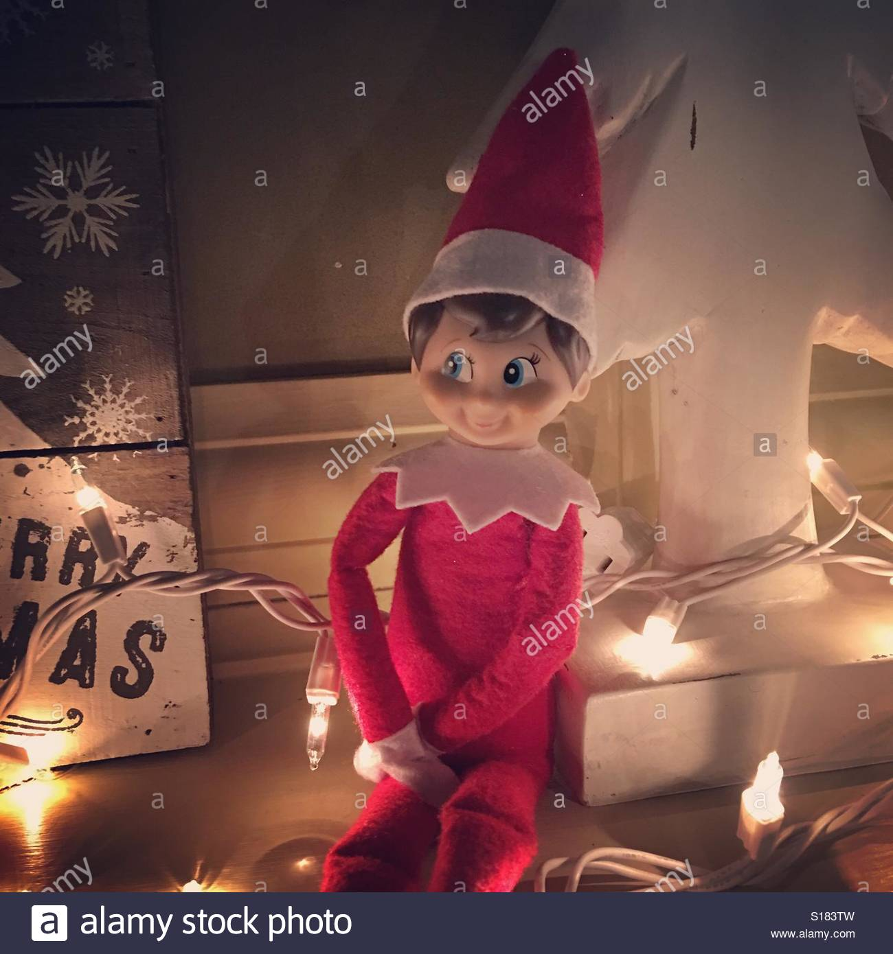 Elf on the shelf Stock Photo