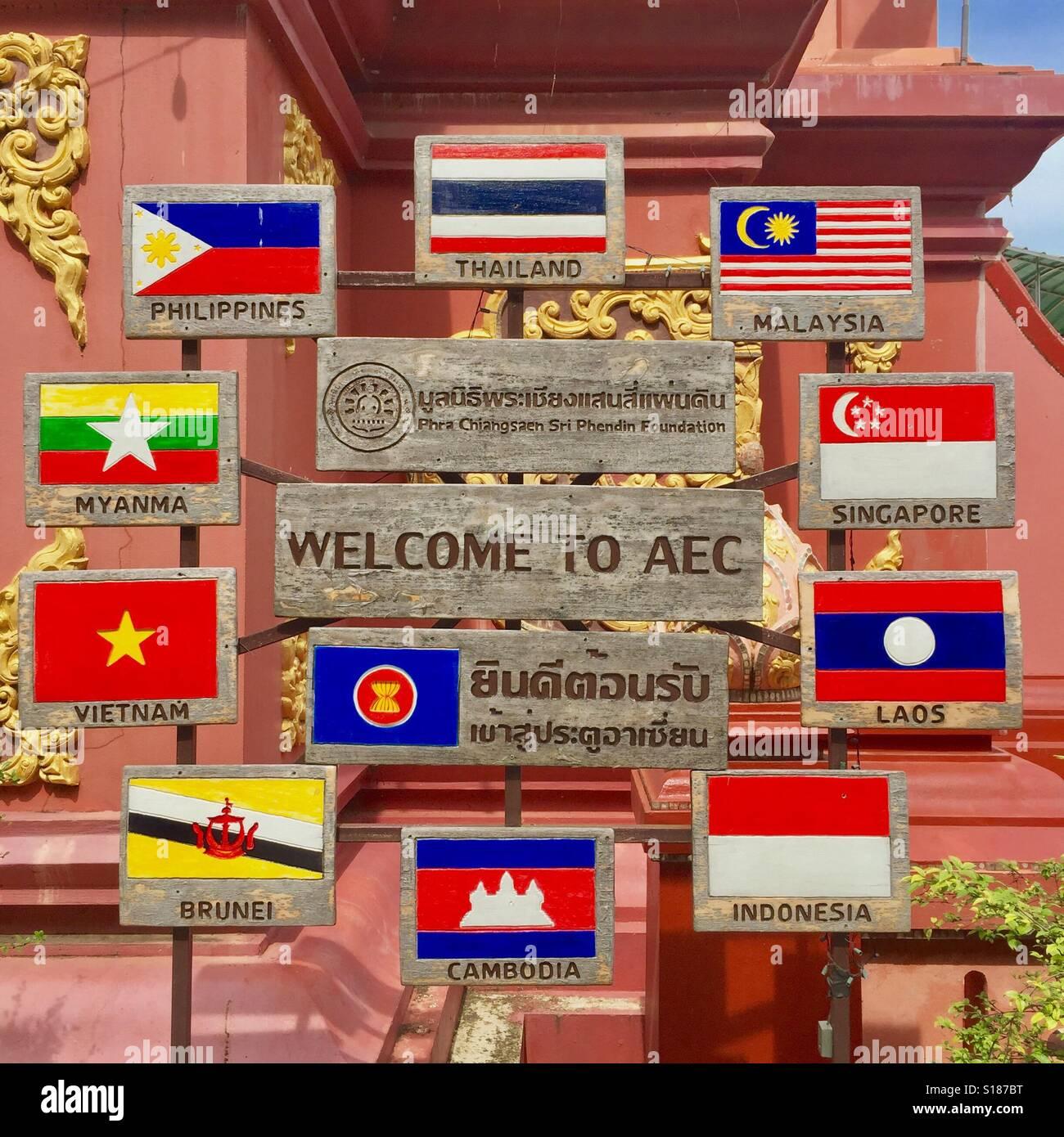 Welcome To AEC (ASEAN Economic Community) - Stock Image