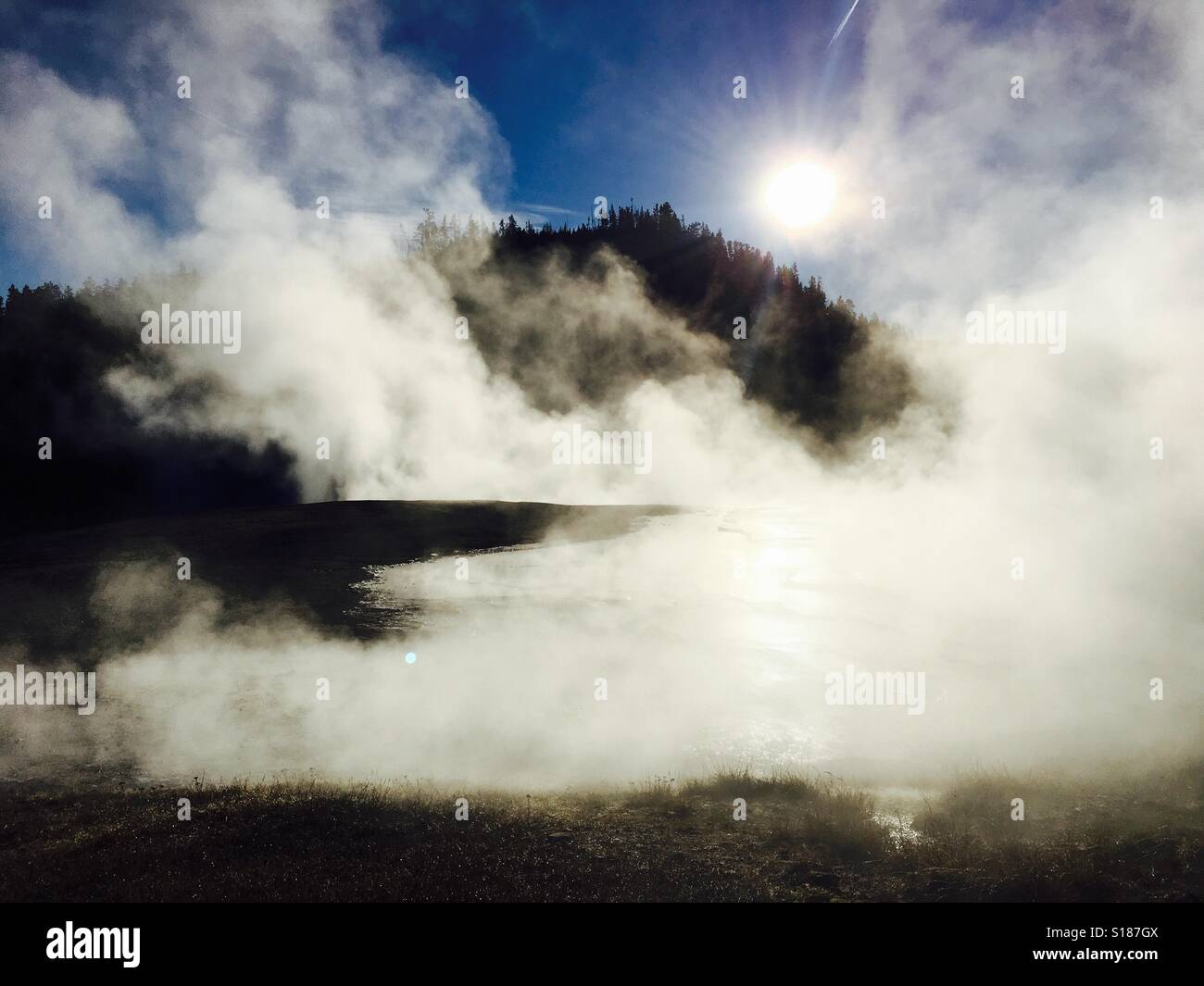 Yellowstone vent in the sun - Stock Image