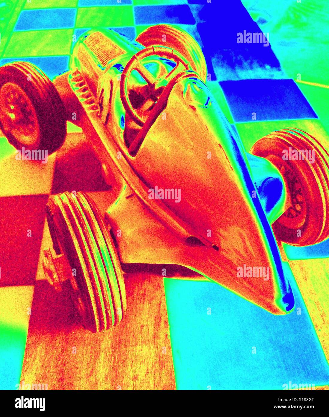 Infrared photo of historic racing car - Stock Image