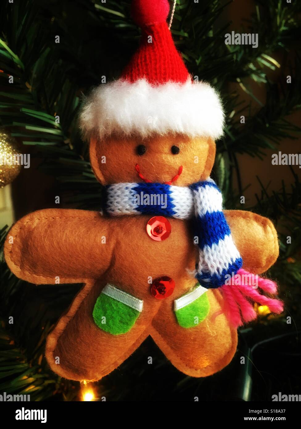 gingerbread man christmas decoration stock image