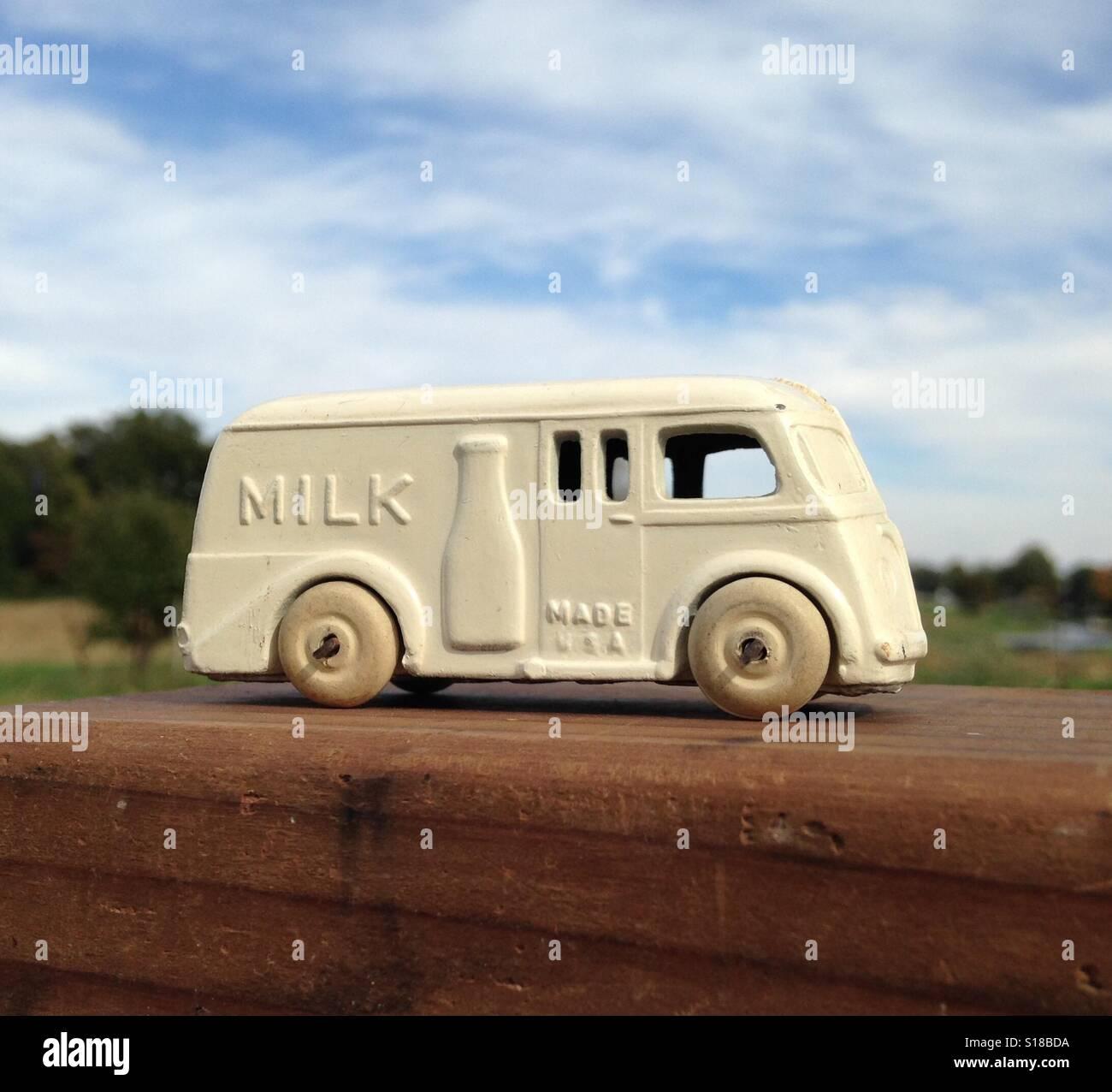 Vintage Toy Diecast Metal Milk Truck 1930s Stock Photo