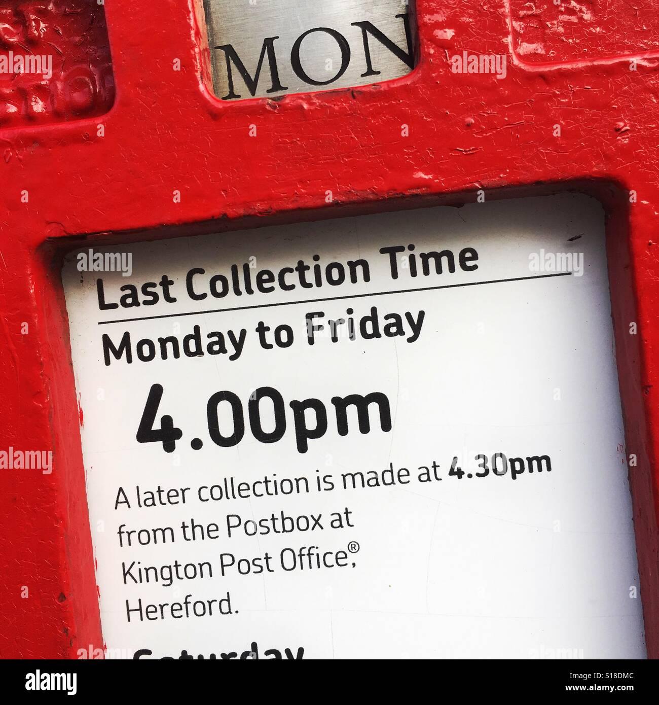 Royal Mail post box collection times U.K. - Stock Image