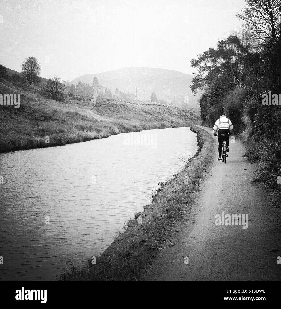 Bike ride along the Rochdale canal.. - Stock Image
