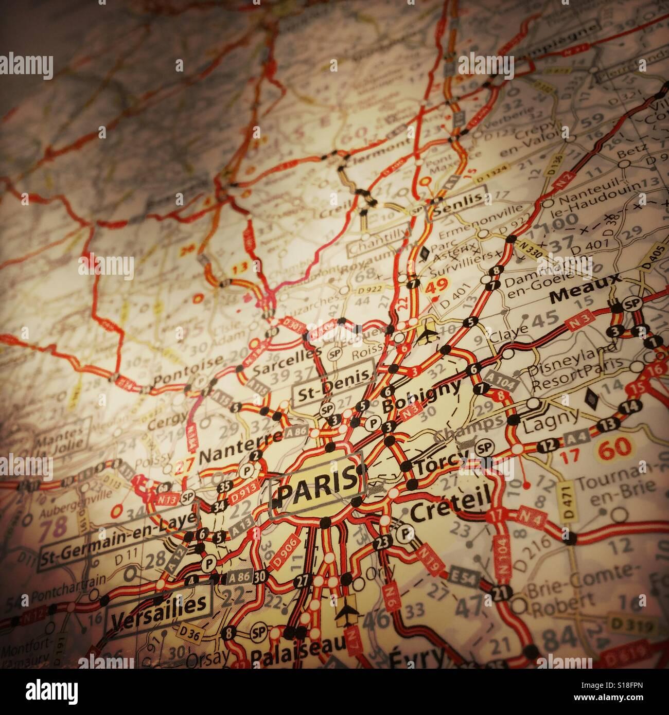 Map Of France Showing Paris.Map Showing Paris France Stock Photo 310589293 Alamy