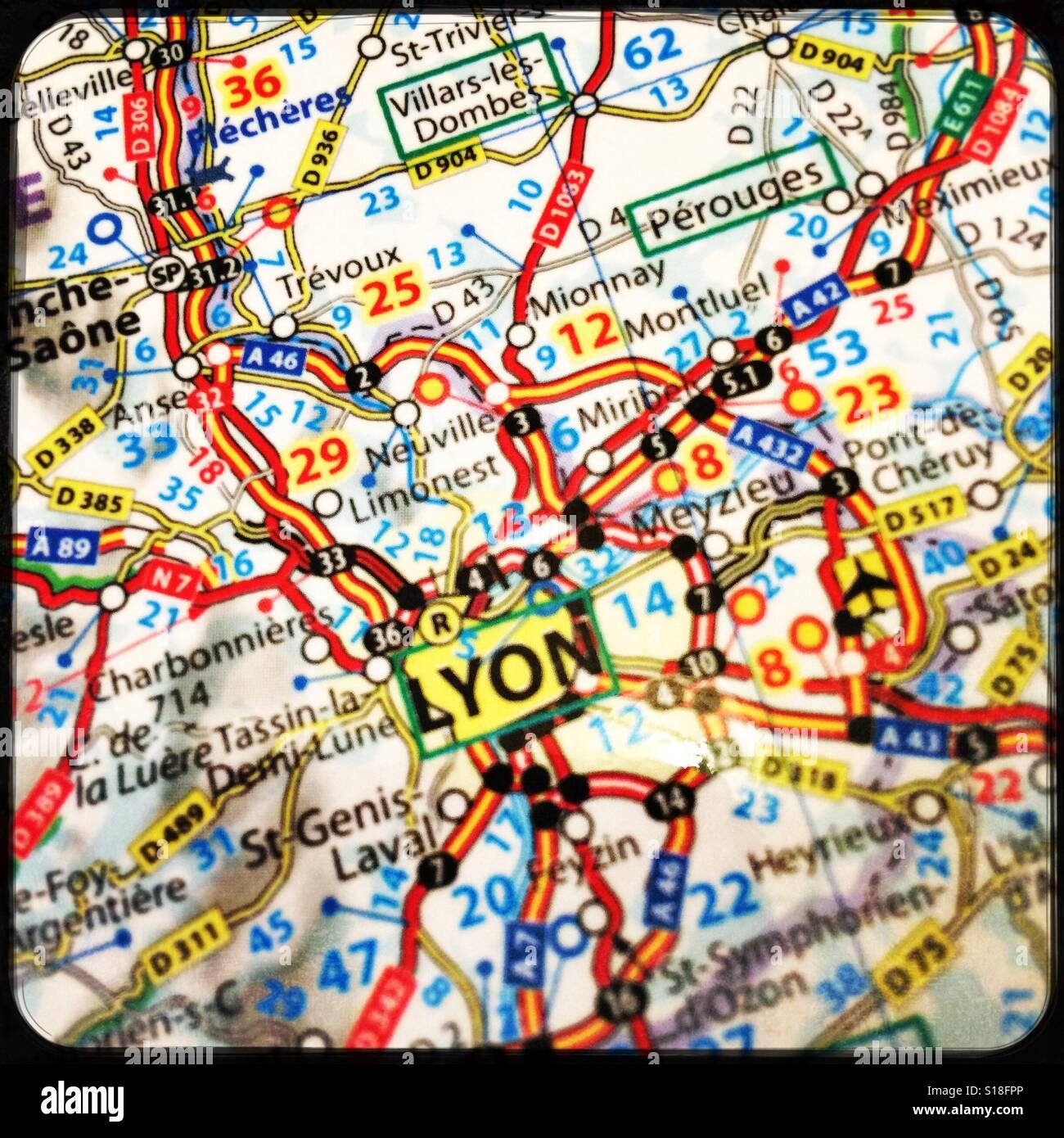 Map Of France Showing Lyon.Map Showing Lyon France Stock Photo 310589294 Alamy