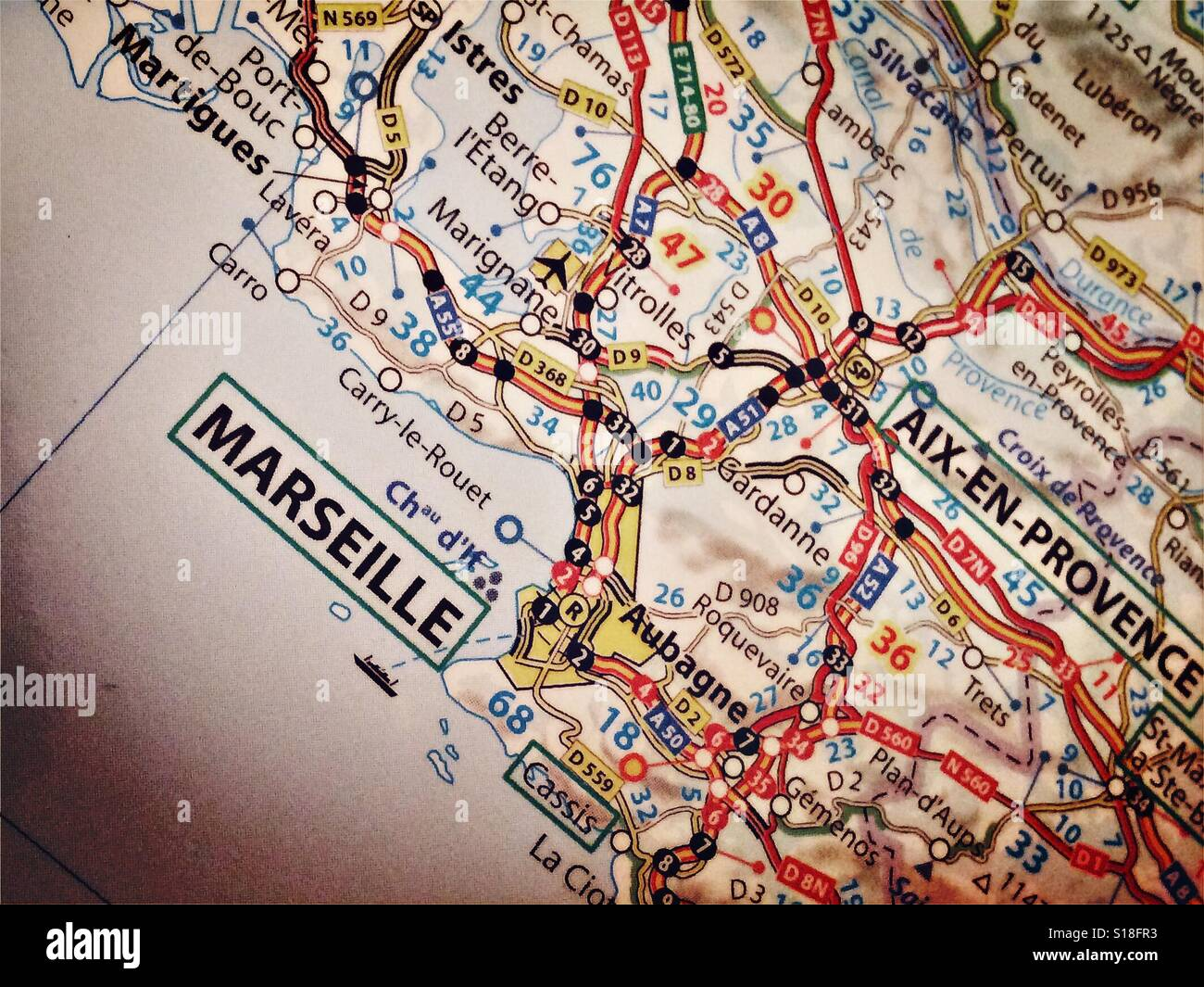 Map Of France Showing Marseille.Map Marseille France Stock Photos Map Marseille France Stock