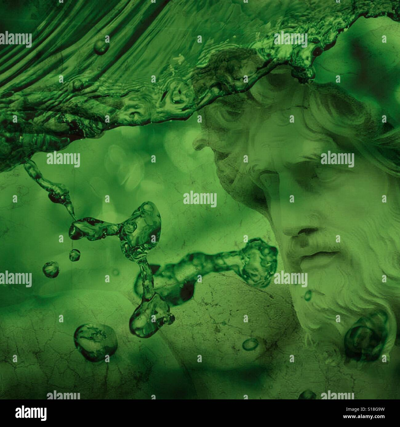 Roman God caught in green water - Stock Image