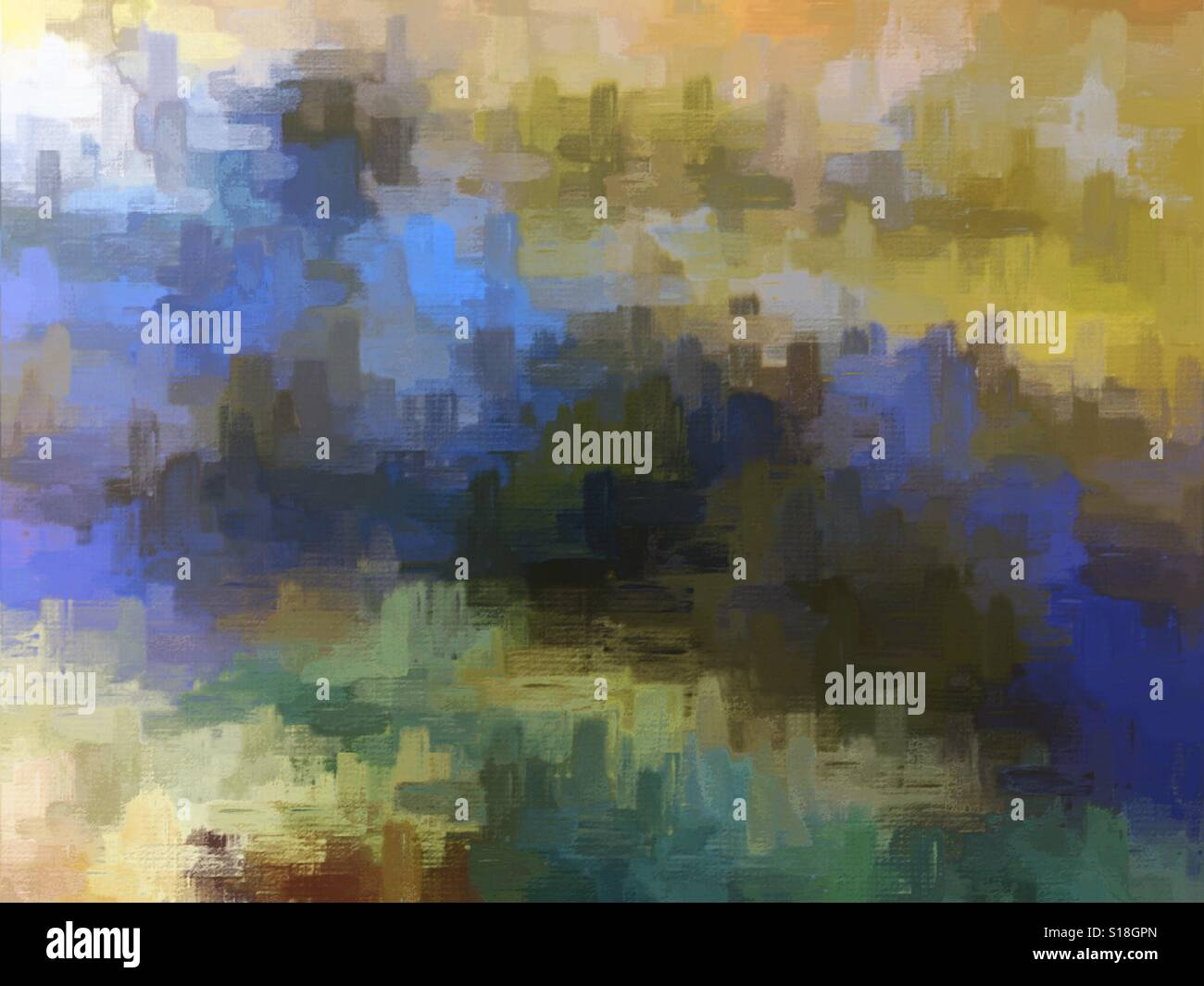 Abstract digital painting created from a photograph of reflections of trees on a lake. - Stock Image