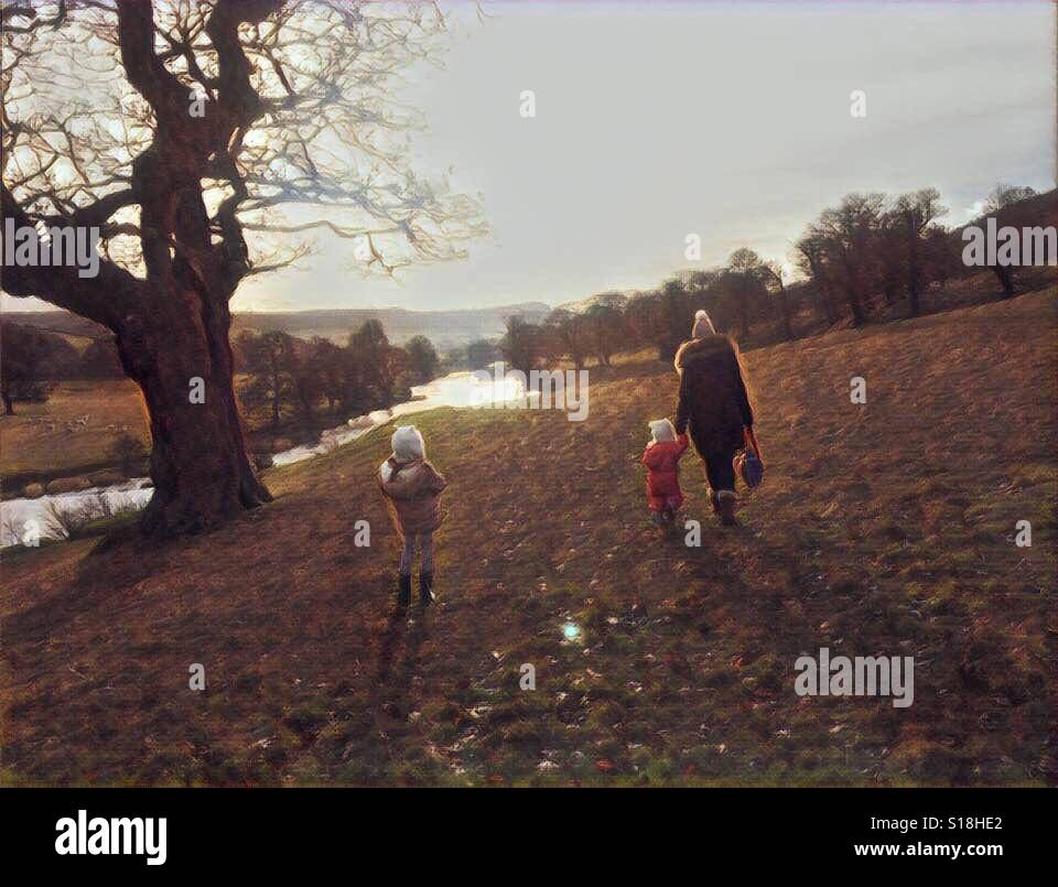Watercolour style image of family walking in countryside. Derbyshire, UK. - Stock Image