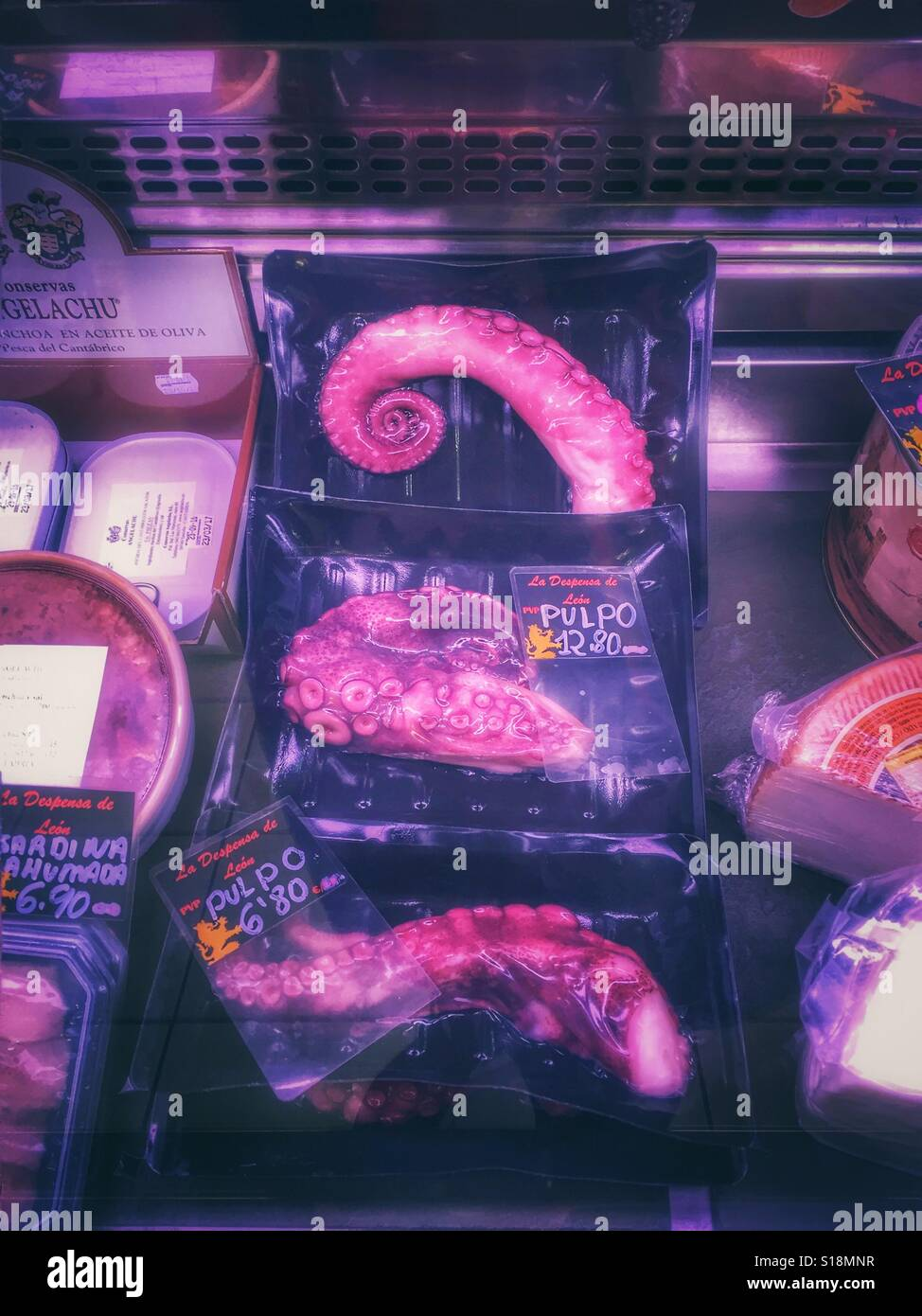 Octopus sold at a market, the Markedo, in Alicante, Spain - Stock Image