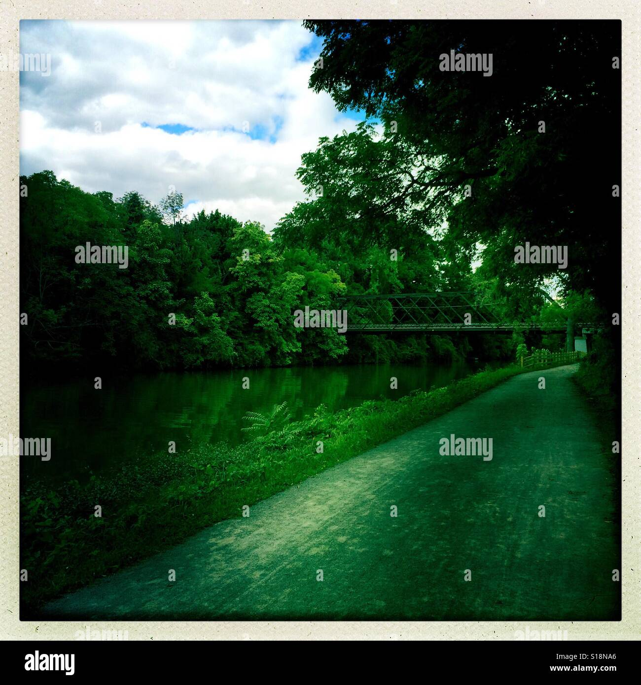 The Erie Canal Towpath running through Pittsford, New York - Stock Image