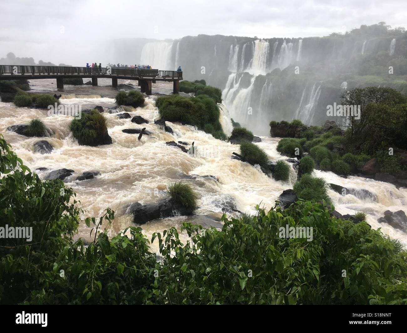 Iguassu Falls Boardwalk and Devils Throat - Stock Image