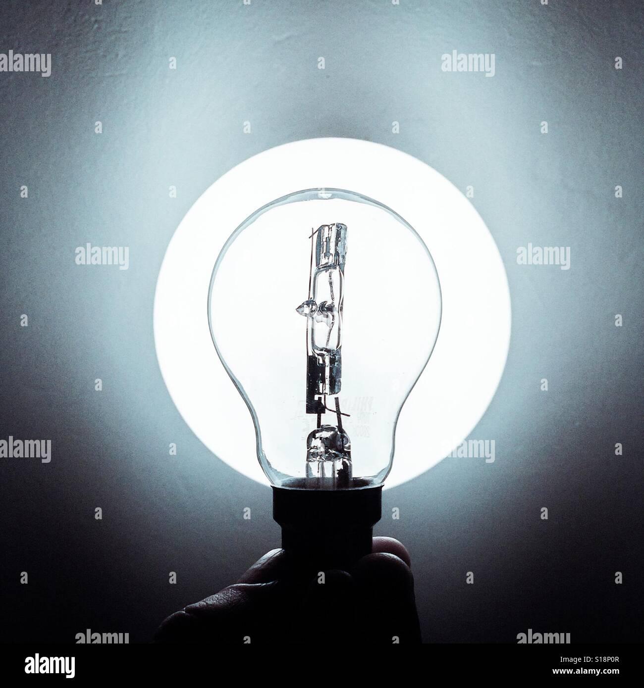 Lightbulb illuminated - Stock Image