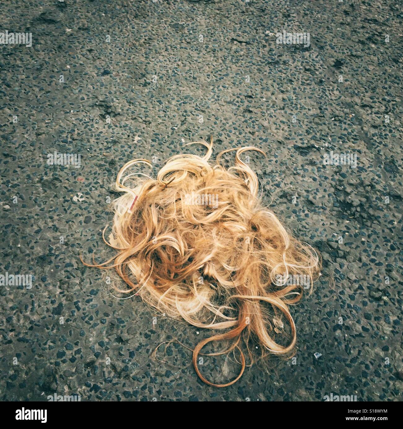 A blond hairpiece or wig discarded in a street - Stock Image