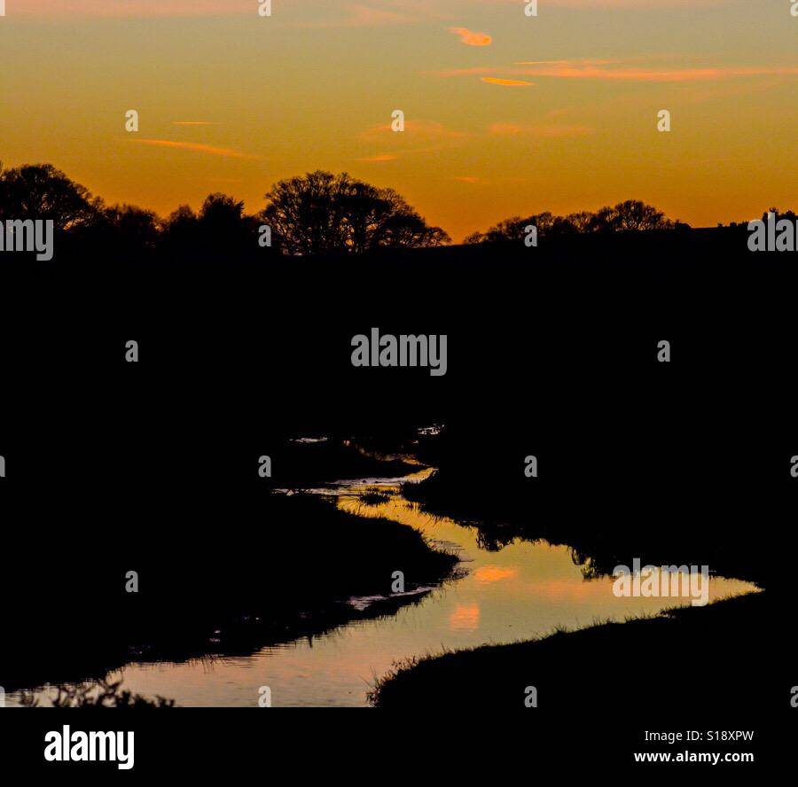 Sultry sunset colours on the New Forest, Hampshire, UK. - Stock Image