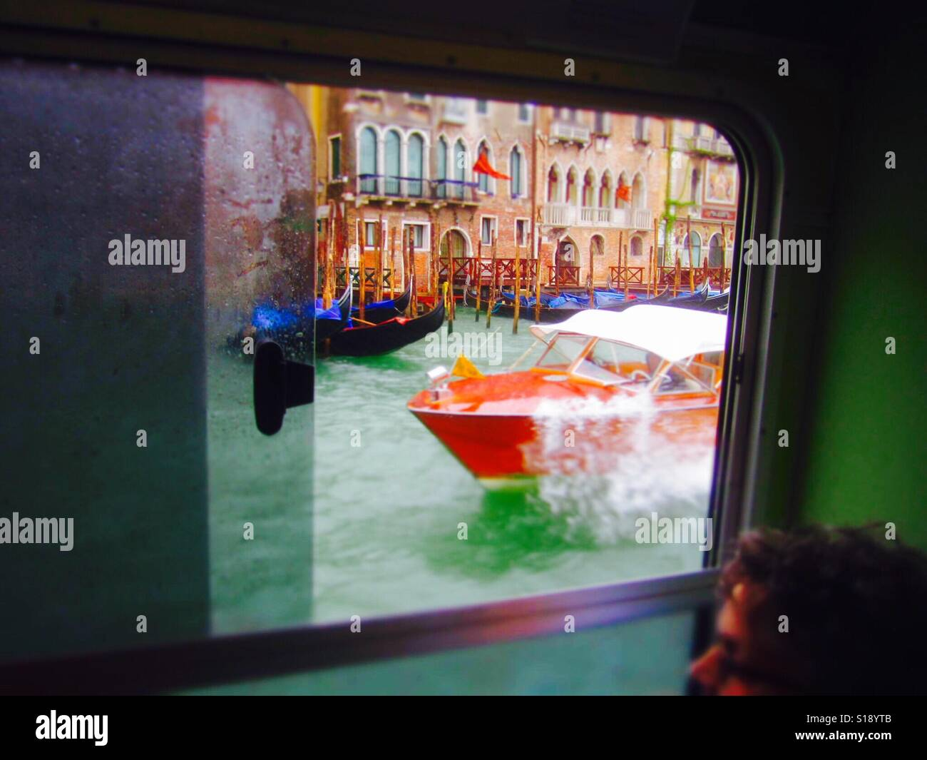 On a vaparetto ferry ride in Venice Italy - Stock Image