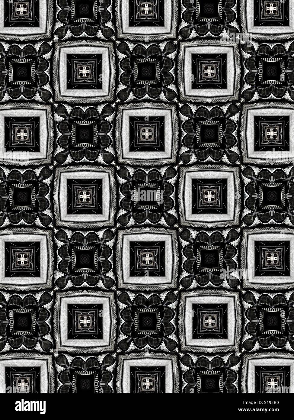 An abstract black and white design of interconnected squares - Stock Image