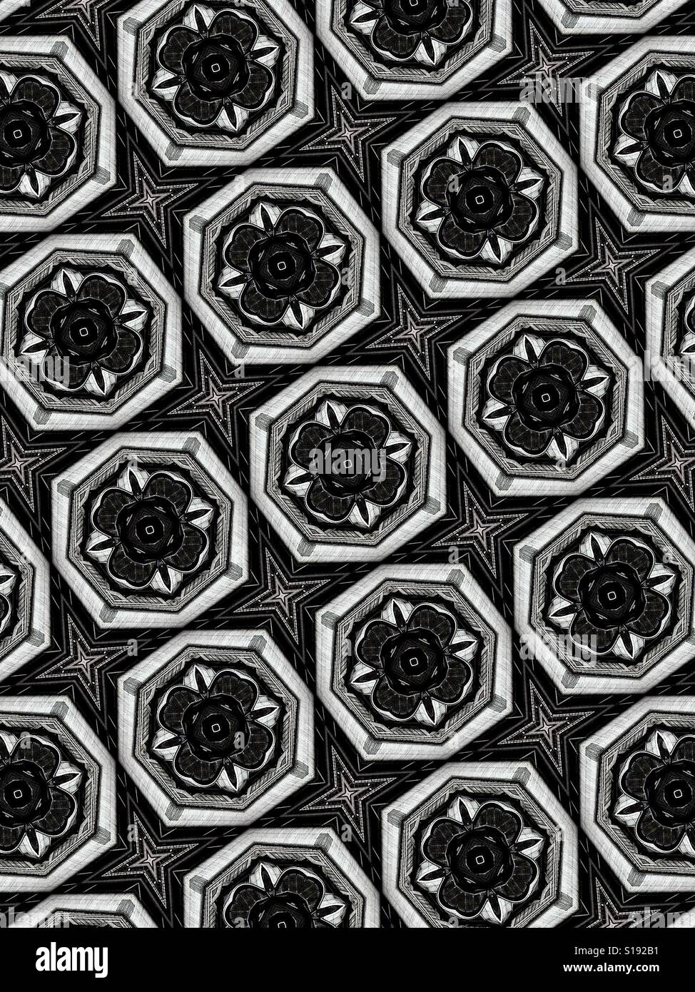 An abstract geometric black and white pattern of interconnected shapes - Stock Image