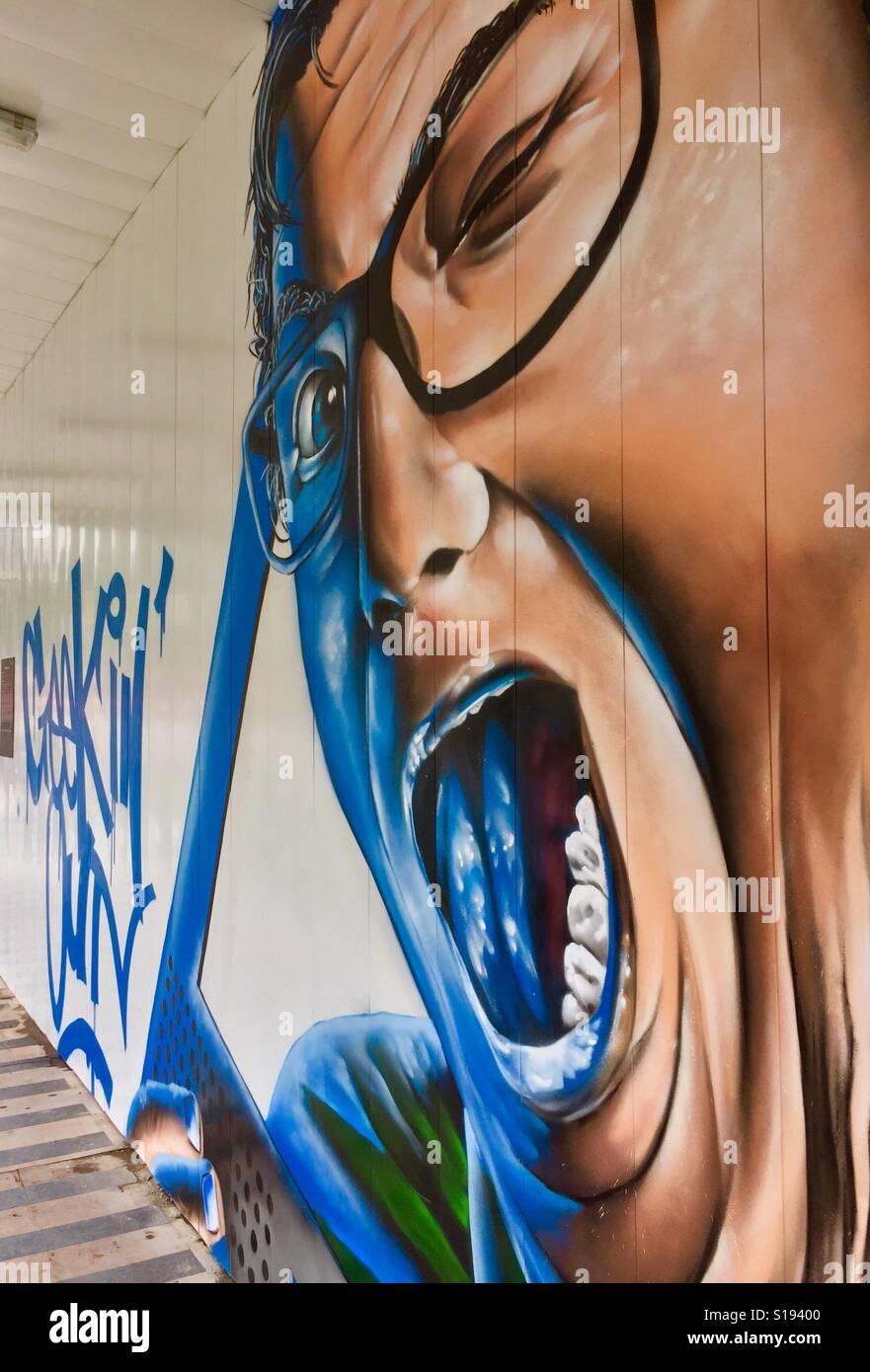 Mural Painting By Graffiti Artist Ceno2 Singapore Stock Photo