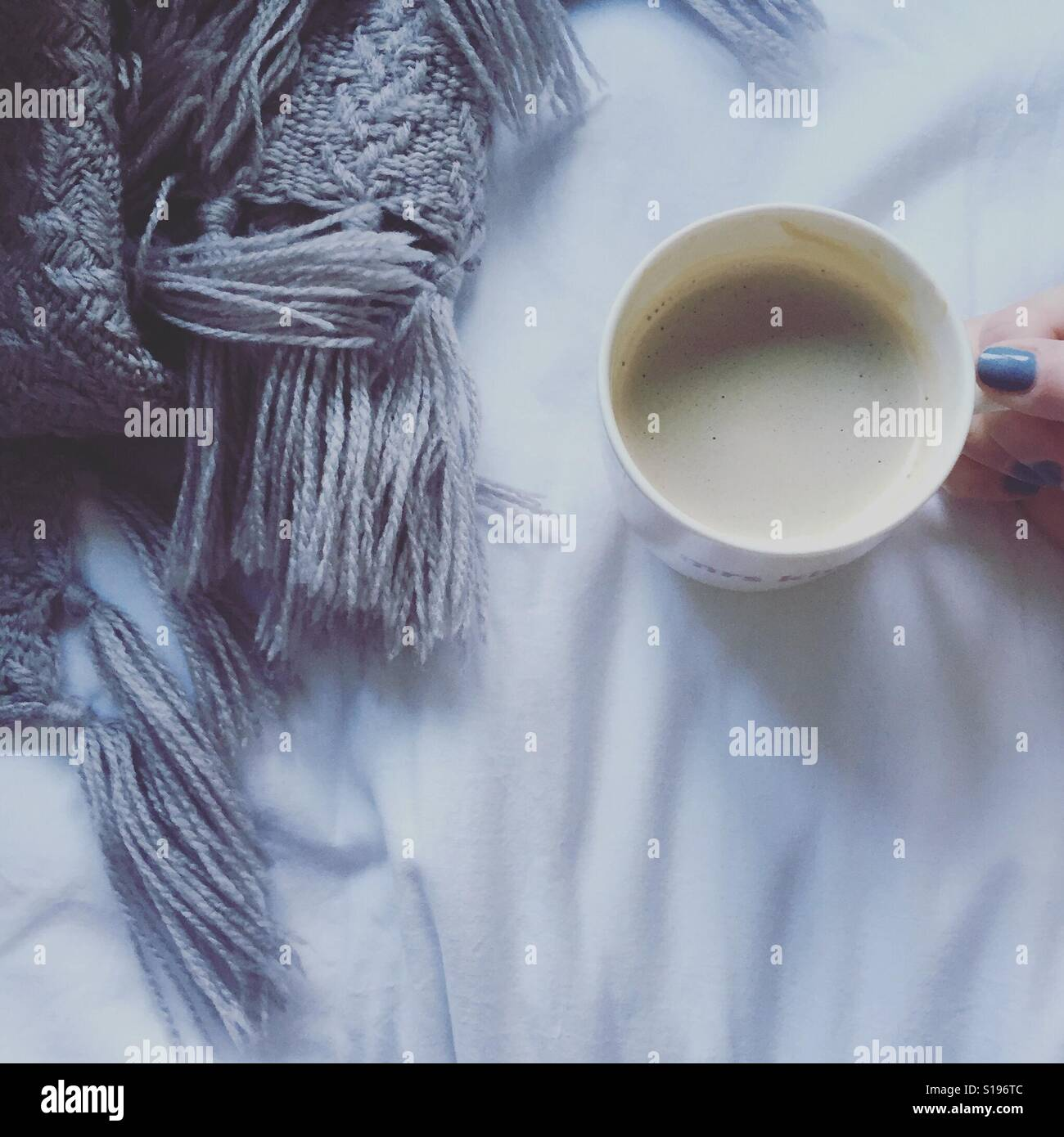 Coffee in bed - Stock Image