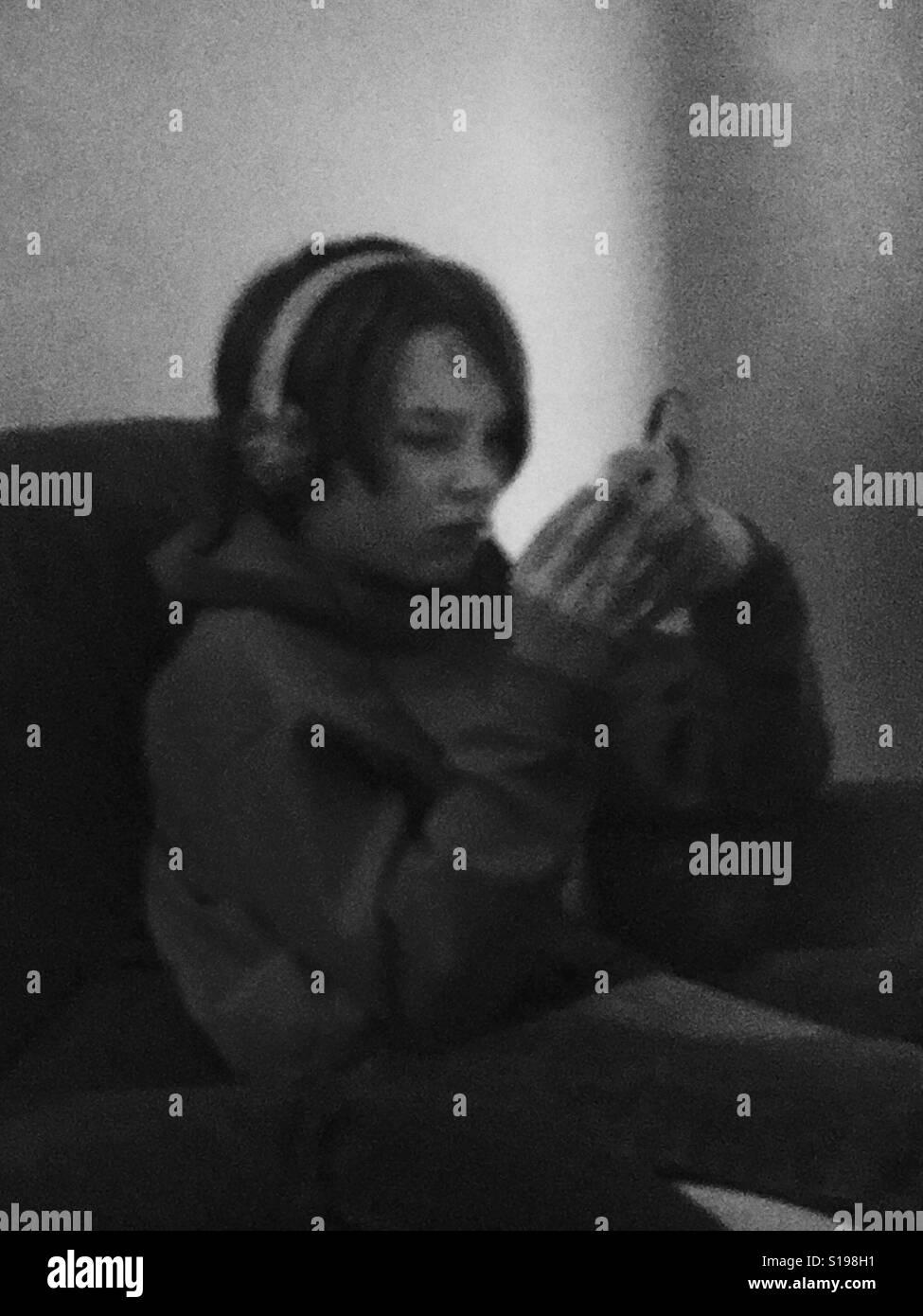 Blurry technology boy - Stock Image
