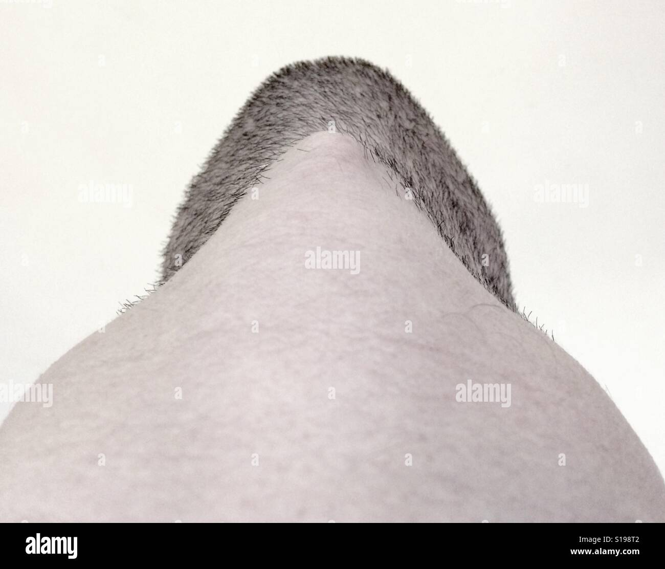 Unusual angle looking up at a stubbled chin. - Stock Image