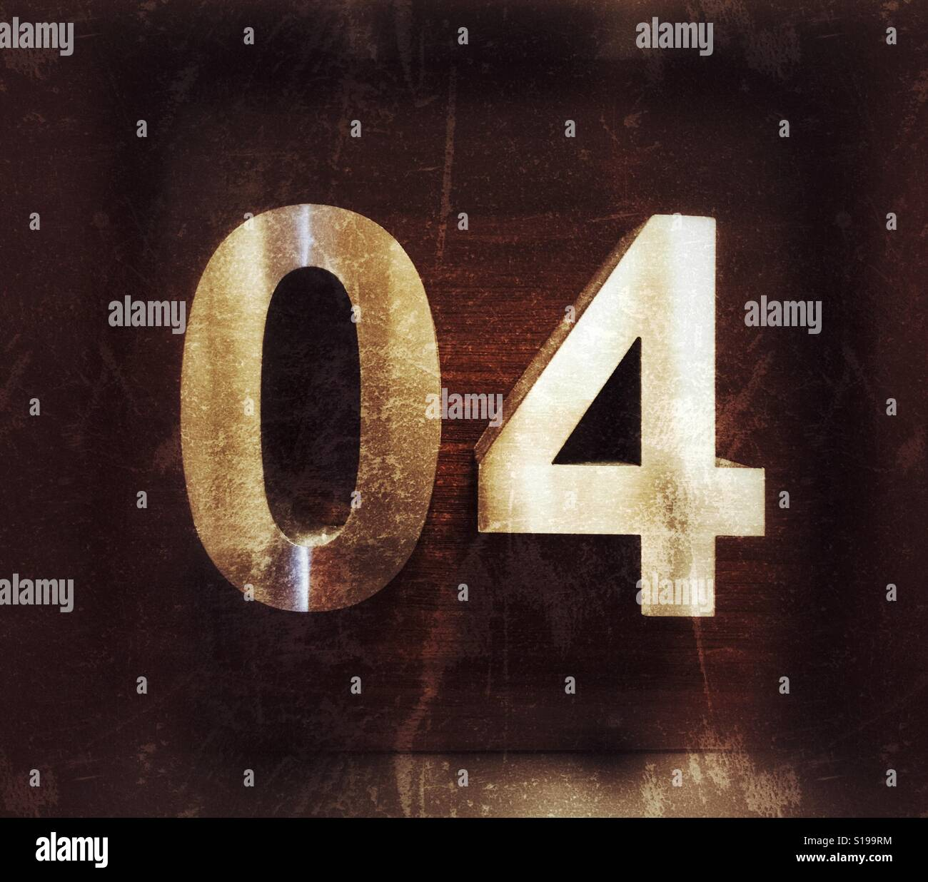 Numbering, numeral 04, organizing - Stock Image