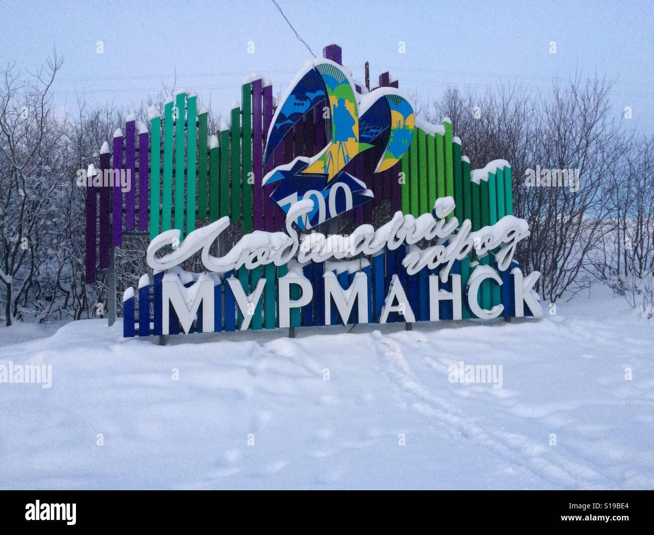 Murmansk Sign - Stock Image