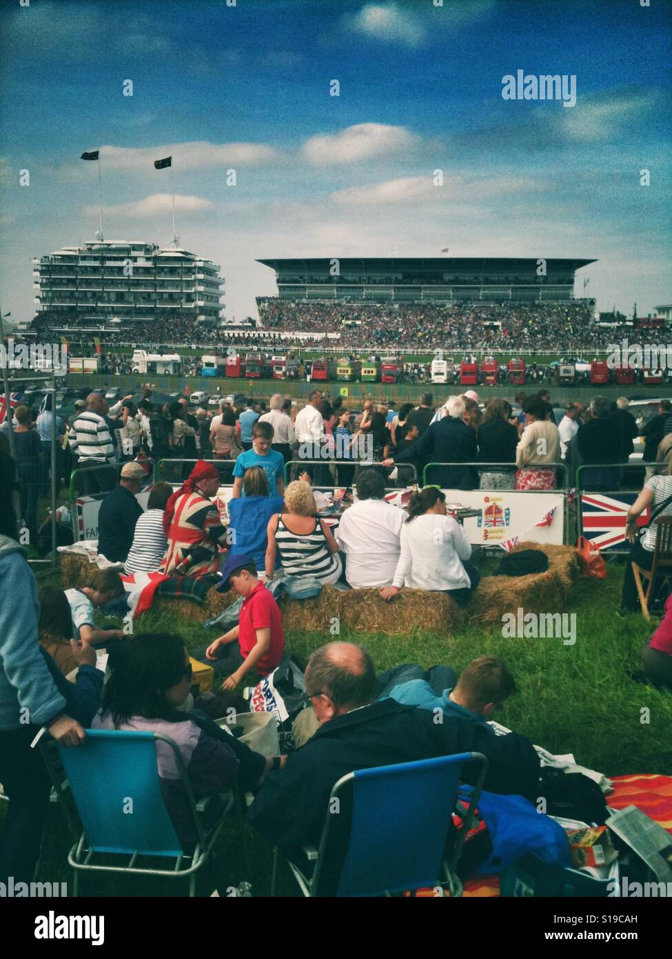 Crowds at Derby Day in Epsom - Stock Image