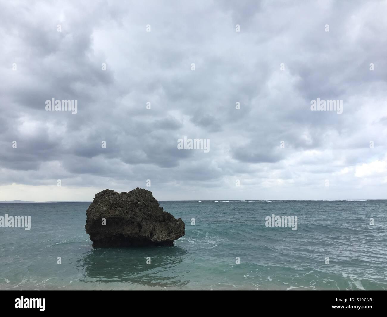 Beach Rock in Okinawa Japan - Stock Image