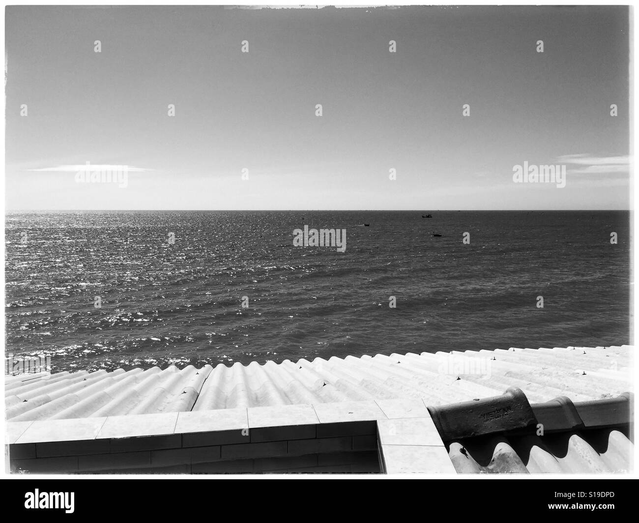 Contrasty black and white landscape of muine beach. - Stock Image