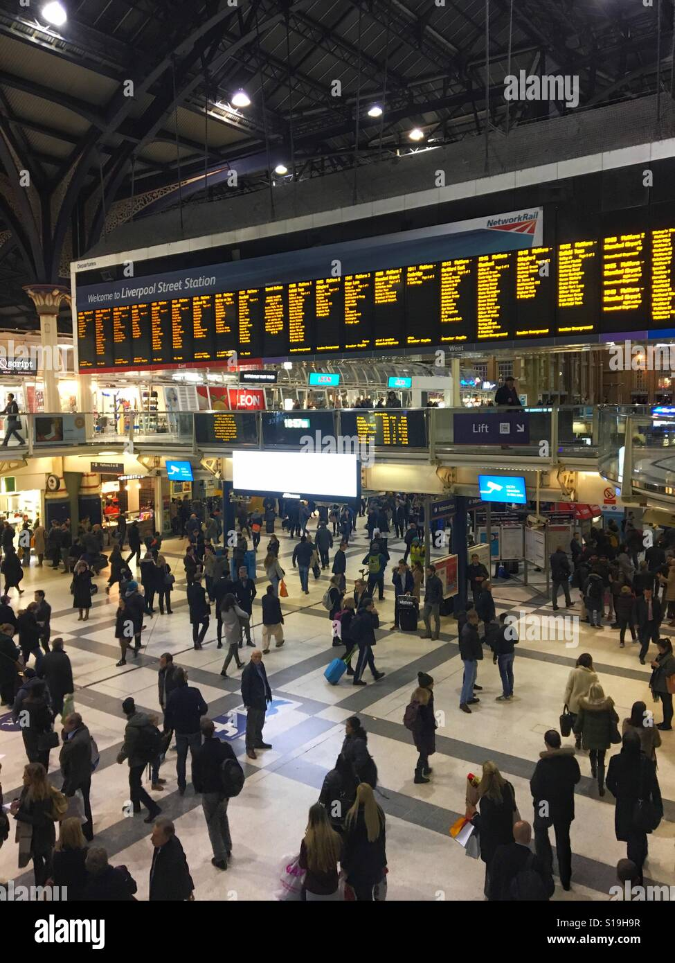 Busy Liverpool Street Station - Stock Image