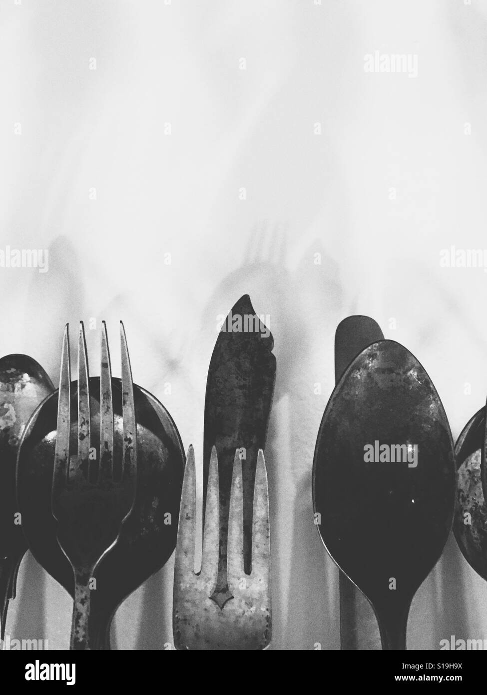 Knives, forks and spoons - Stock Image