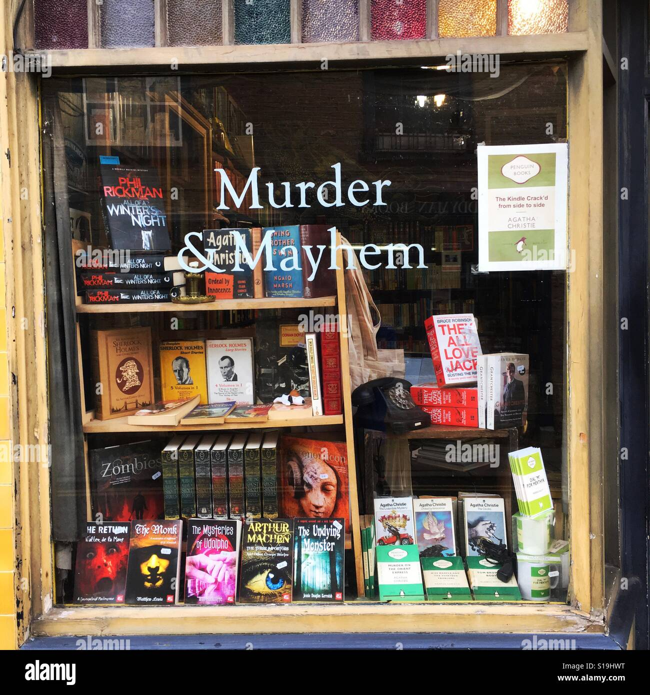 Hay on Wye Wales the Murder and Mayhem secondhand bookshop - Stock Image