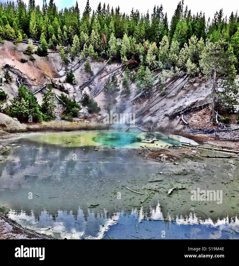 Yellowstone national park hot springs - Stock Image