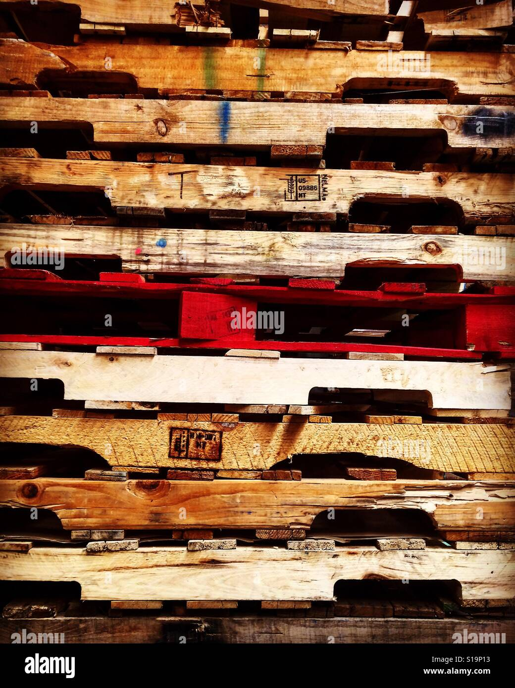 Photo of stack of wood pallet - Stock Image