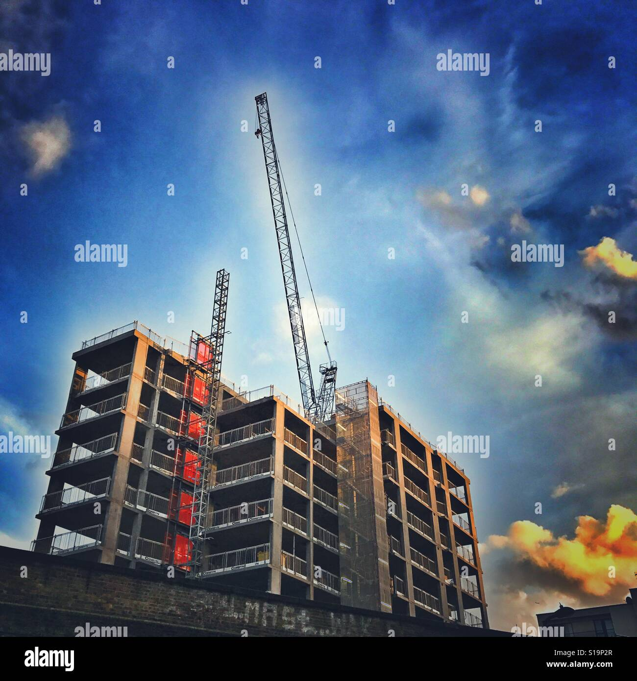 A new housing block being built in London - Stock Image
